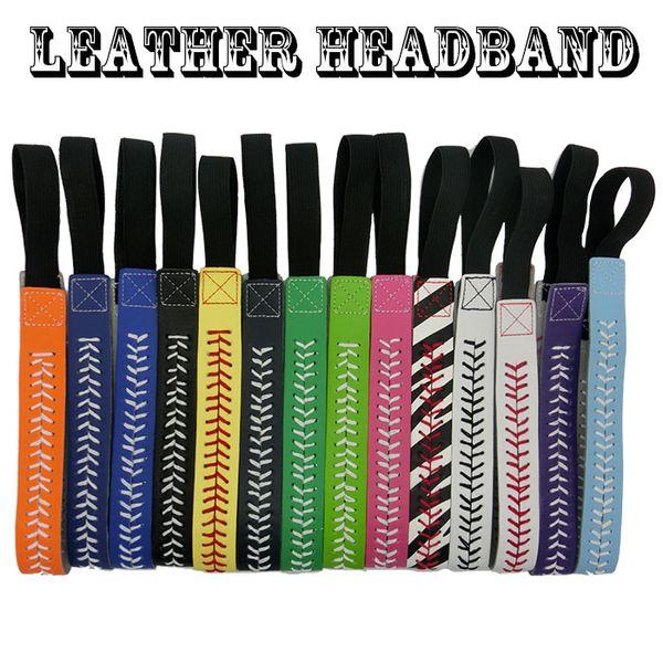 wholesale new design 26 colors SOFTBALL SEAMSTITCH HEADBAND Stretch Sports Softball LEATHER headband free DHL