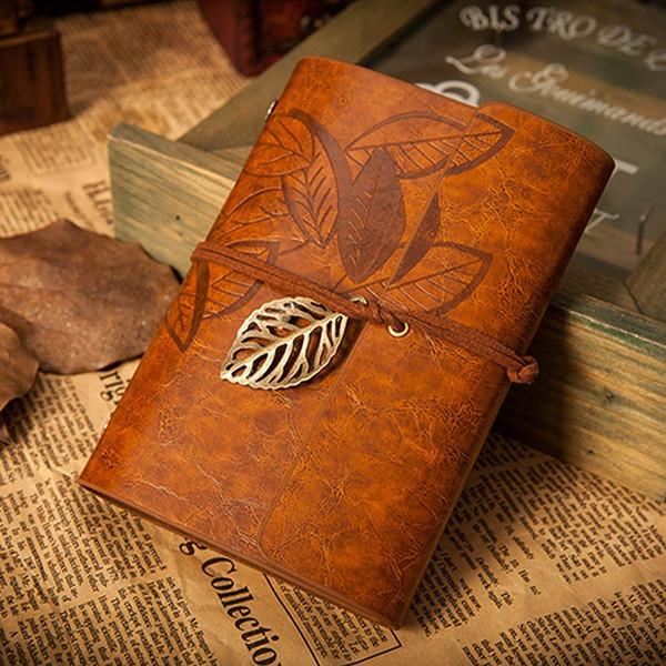 Vente en gros Vintage cuir marron foncé PU couverture en vrac feuille vierge cahier journal journal journal cadeau