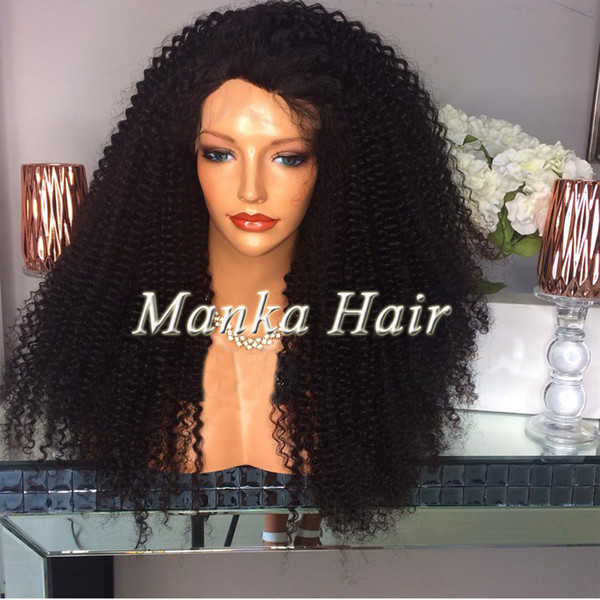 Fast Delivery FREE SHIPPING Brazilian 100% human hair Kinky curly Full lace wig with baby hair Lace front wigs For Black Women