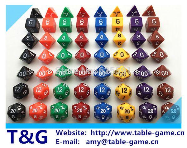 Wholesale-Wholesales Hot 7pcs/set High Quality Colorful Dice Set D4,D6,D8,D10,D10%,D12,D20 dungeons and dragons,novelty RPG Digital Dice