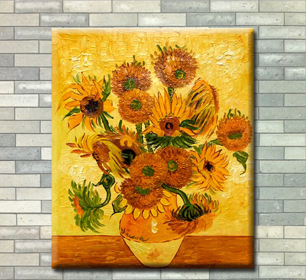 Pure handmade Oil Painting on Canvas Van Gogh Sunflowers Paintings Modern Home sitting room corridor Decor Art Wall Picture(Size:30cmx40cm)