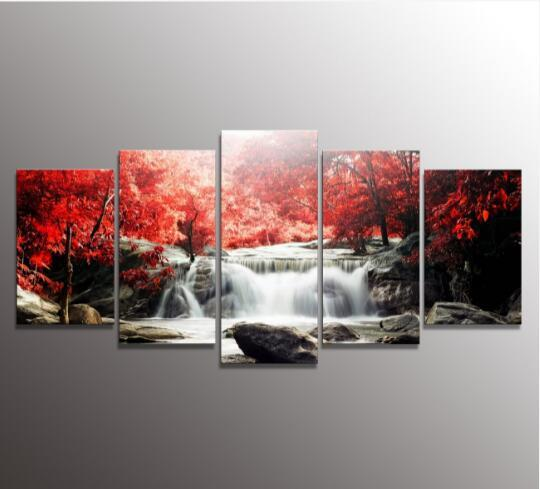 5 The Panel Wall Art di mangrovie e cascate Quadri di pittura Stampa su tela Immagine per la casa Decorazione moderna