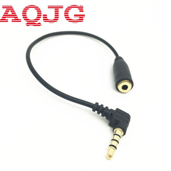 Wholesale- 15cm 90 Degree Right Angled 3 5mm 3 Pole Audio Stereo Male to Female Extension Cable AQJG