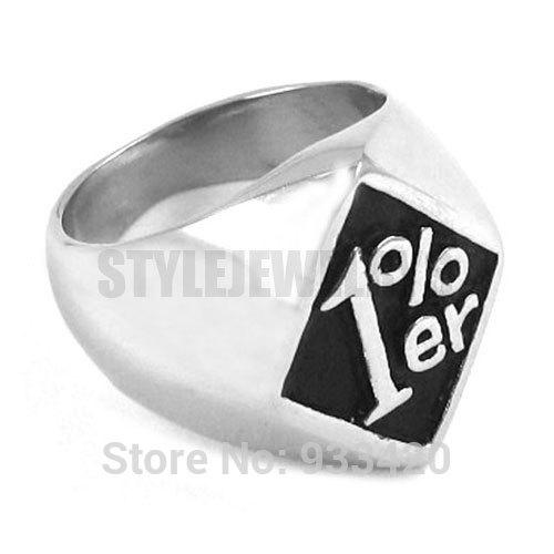 Free Shipping! One Percent Ring Motorcycles Biker Ring Stainless Steel Jewelry Gothic Motor Biker Ring SWR0254B
