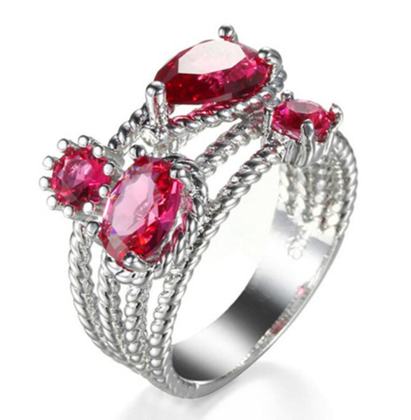 10 Pieces 1 lot LuckyShine Fire Red Kunzite Quartz Multi-Color Cubic Zirconia 925 Sterling Silver Rings for Women Christmas Holiday Gift