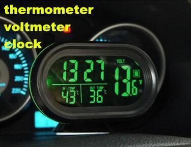 digital LCD display thermometer temperature meter car clock car detector tool voltage tester