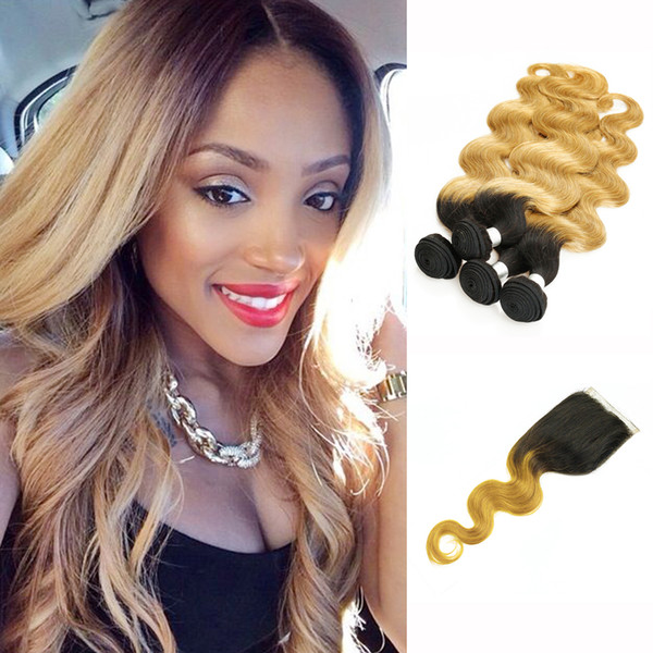 T 1B 27 Dark Root Honey Blonde Extensions Body Wave Ombre Human Hair Weave 4 Bundles with Lace Closure Colored Brazilian Virgin Hair