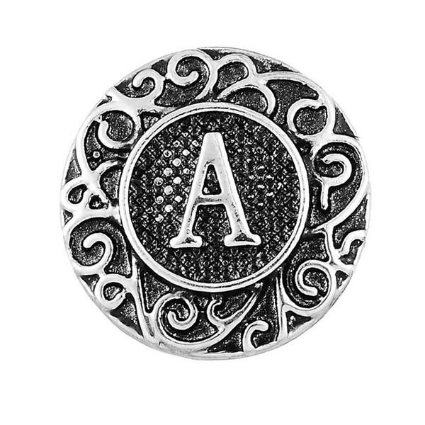 2017 Antique 26pcs Initial A-Z Alphabet Snaps 18 mm Letter Snap Button for Ginger Snap Charm Bracelet Jewelry