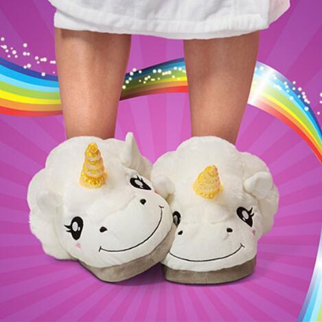 top popular 29*12.5cm Unicorn Plush Slippers Unicorn Casual Shoes Warm Household Slippers for Unisex Big Children Slippers 2pcs pair CCA7491 20pairs 2019