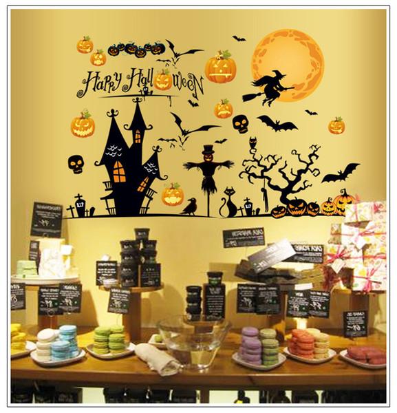 Dia das bruxas Abóbora Crânio Adesivos de Parede Personagem Decoração de Casa Hallowmas Adesivos de Parede Bruxa Morcego Adesivos Todos Os Saint's Stuff Dia