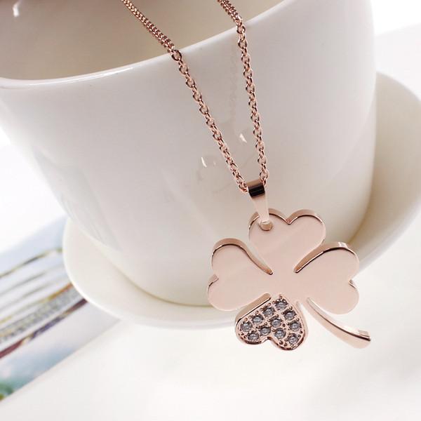 aa371f2d77ac Hot Europea Estilo Moda rosa de oro de titanio joyas de acero Clover  colgante Clavícula Collar