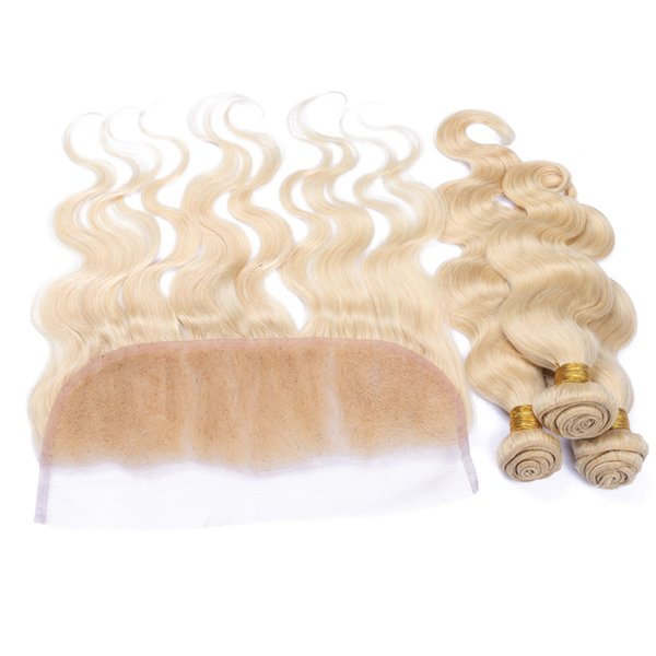 Rusian 613 Blonde 13x4 Encaje Frontal Cierre con tejidos 4Pcs Lot Bleach Blonde Virgin Russian 3Bundles Hair Con 1Pc Body Wave Lace Frontal