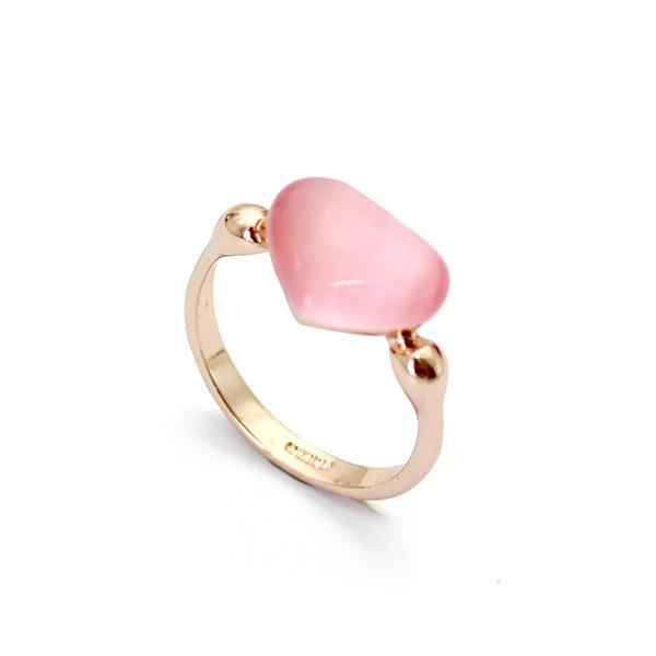 18K Rose Golden Rings Opal Stone Solitaire Heart Ring Women Finger Ring Blue/Pink 2 Colors Option