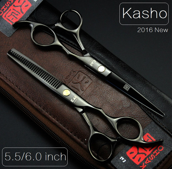 Wholesale-Kasho 5.5/6 Professional hairdressing scissors hair cutting scissors barber shears thinning scissors for cutting hair 2pcs+bag