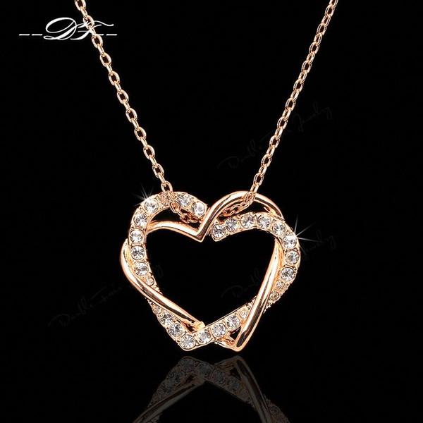Cla ic love heart de igner cz diamond party necklace pendant 18k gold platinum plated wedding jewelry for women dfn062 dfn063, Silver