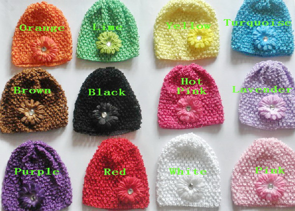 """10pcs baby waffle crochet hats hair flowers clips sunny soft toddler beanie with 2"""" mini daisy flower stretch caps feshion hot sell MZ9112"""