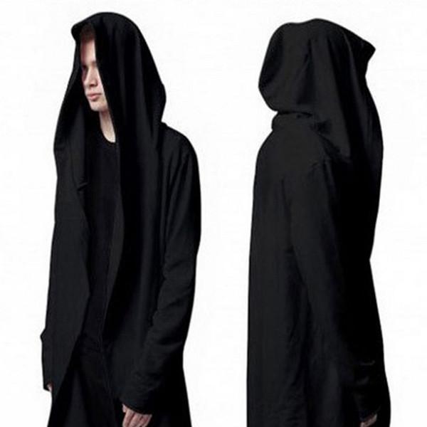 Assassins Creed Cloak Cappotti Mens Cotton Felpe Fashion Black Hooded Hoodies Plus Size Maschile Casual Outwear Cappotti Solid M L XL 2XL 3XL