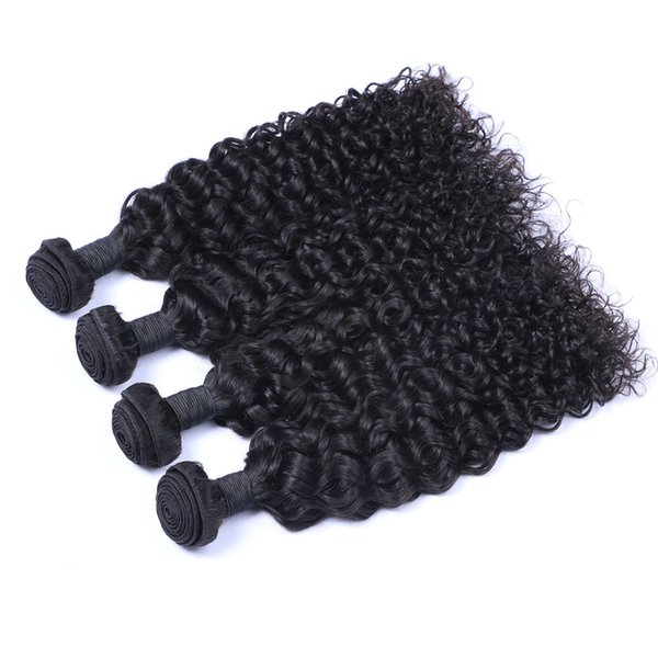 8A High Quality Peruvian Jerry Curly Unprocessed Human Hair Extensions 8-30inch Natural Black Color Soft Full Dyeable 5pcs/lot Free Shipping