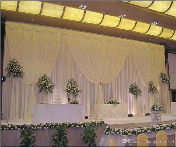 3M*6M White ice silk wedding backdrop curtain with swags Wedding Props Satin For Wedding/Birthday Evening Party Decoratiion
