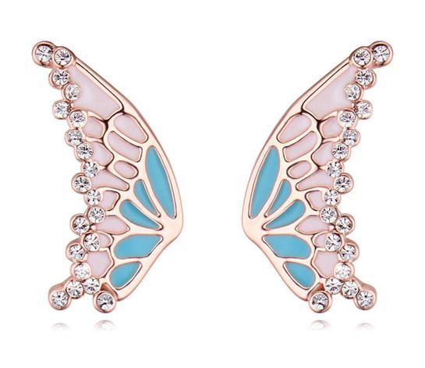 Crystal Earrings Jewelry Fashion Women Quality Austrian Crystal 18K Gold Plated Butterfly Stud Earrings Wholesale Drop Shipping TER090