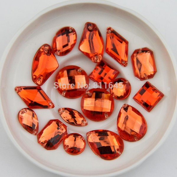 Mix size 100pcs Orange color sewing on Rhinestone Sew On Acrylic Flatback mix shape Gems Strass Stones For Clothes Dress Crafts
