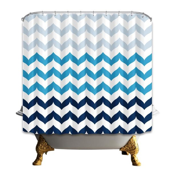 Hot Selling Fashion Stripe Shower Curtains 180*180cm Home Decoration Waterproof Polyester Fabric Shower Room Hanging Curtain High Quality