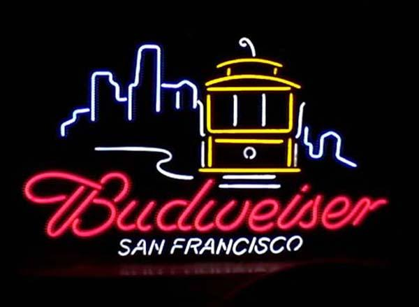 "Budweiser San Francisco Cable Car Neon Sign Handmade Custom Real Glass Tube Store Beer Bar KTV Club Advertising Display Neon Signs 24""X20"""