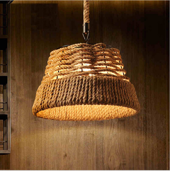 2016 retro rope vintage pendant lights industrial pulley lighting Bar Kitchen iron loft pulley light lampara de techo Light Fixtures