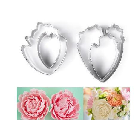 2017 New 3D Beautiful Flower Cake Mold Stainless Steel Peony Flower Teardrop-Shaped Cookie Cutter Fondant Cake Decoration