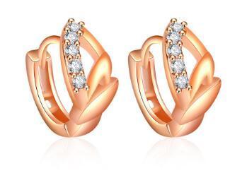 2017 nueva llegada de calidad superior S925 Silver Rose Gold Earring para mujer con cristal E008