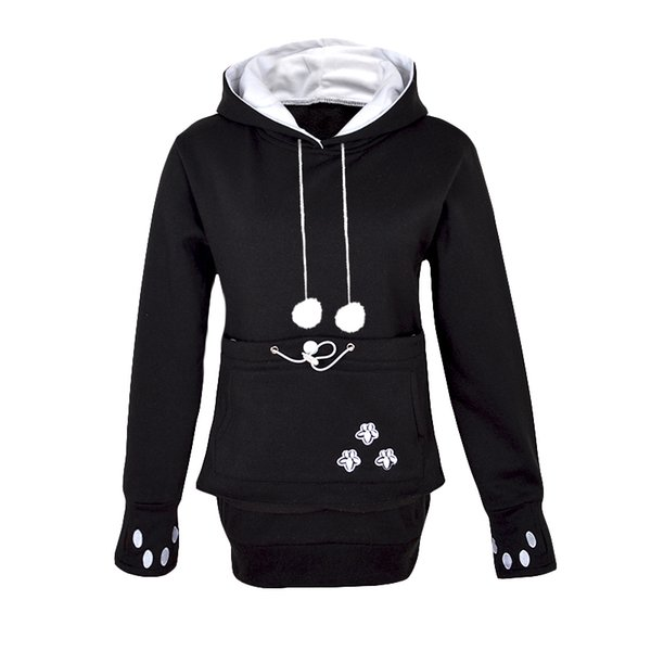 Wholesale- Kangaroo Dog Hoodie Women Kawaii Lover Cats Embroidery Cartoon Hooded Hoodies Thumb Through Front Pocket Animal Ear Hoodie