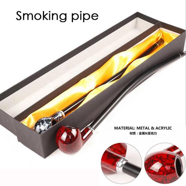 Fashion Color Long Smoking Pipes 41cm Metallo acrilico Materiale confezione regalo per fumatori 5 TIPI 3 Colori Rosso / Grigio fumo / Colore legno