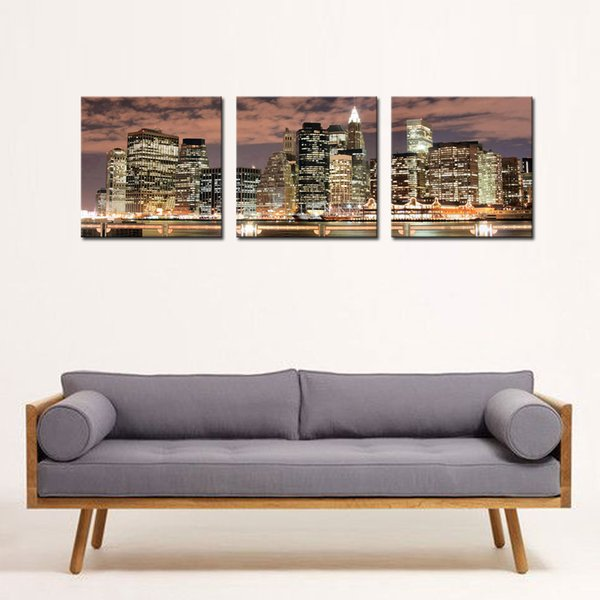 3 Panel New York City Night Canvas Print Stretched Canvas No Frame Featuring The perfect fine art addition to your home or office decor