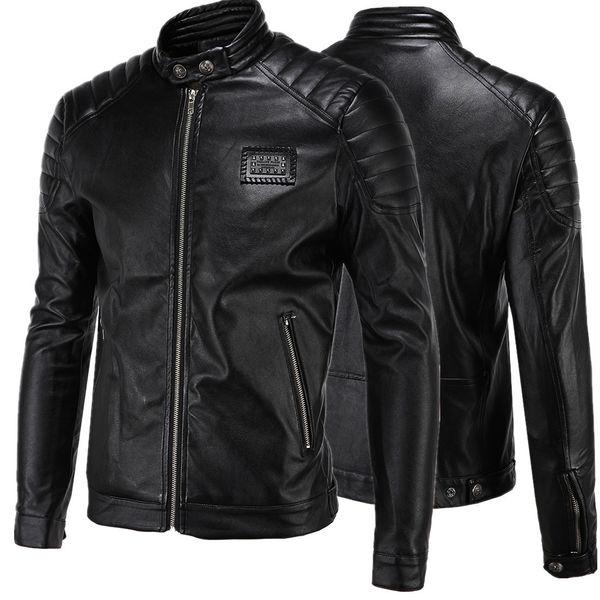 Short Black 5XL Jacket For Mens PU Leather Slim Mens Jacket Coats Stand Collar Autumn Wild Motorcycle Long Sleeve Overcoat Men J160814