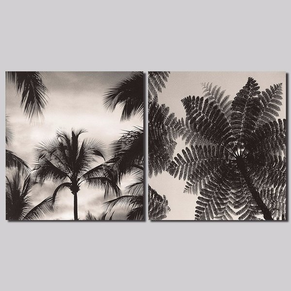 2pcs/set black and white decoration wall art pictures trees grey sky Canvas Painting for living room home decor unframed