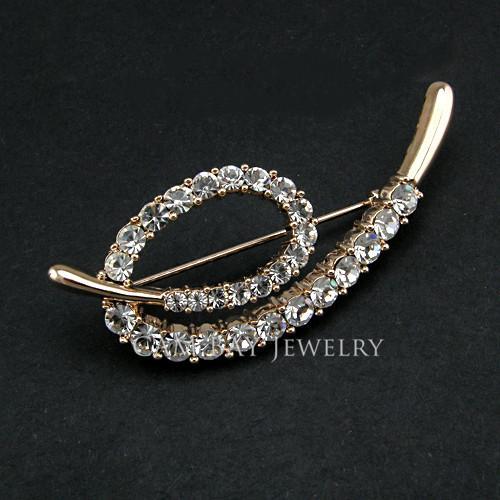 High Quality 18K Gold/Imitation Rhodium Plated OL Style Women Rhinestone e Letter Brooch Trendy Women Cheap Brooch Jewelry