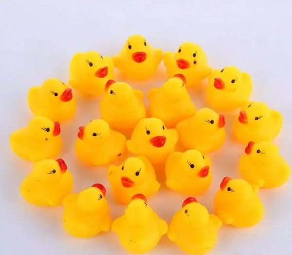 top popular 3000pcs High Quality Baby Bath Water Duck Toy Sounds Mini Yellow Rubber Ducks Kids Bath Small Duck Toy Children Swimming Beach Gifts 2019