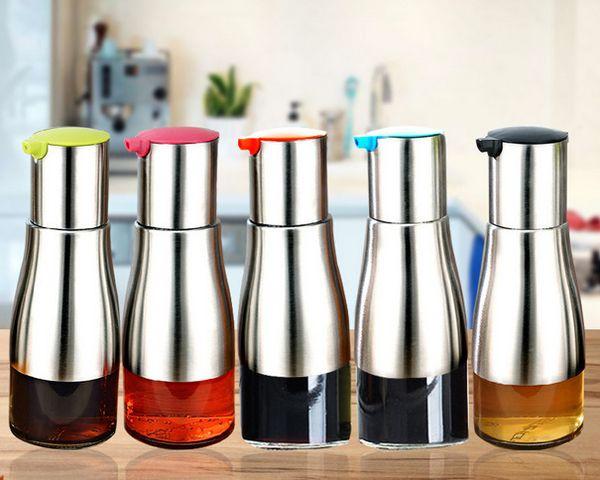 Stainless Steel Glass Oiler Multi Function Oil Control Leak Proof Family Necessity Kitchen Tool High Quality Vinegar Bottle 10zh J R