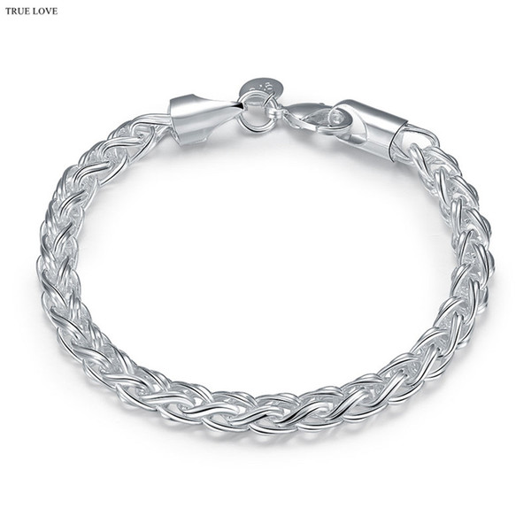 925 sterling silver plated twisted circle chain bracelet Fashion Cool Men's Jewelry free shipping good quality and low price