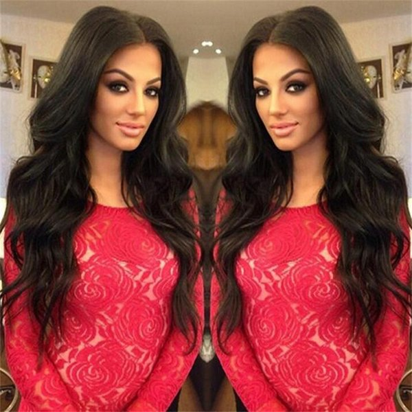 8A Unprocessed Brazilian Wave Full Lace Human Hair Wigs 150%Density Wave Full Lace Wigs With Baby Hair Middle Part Free Ship