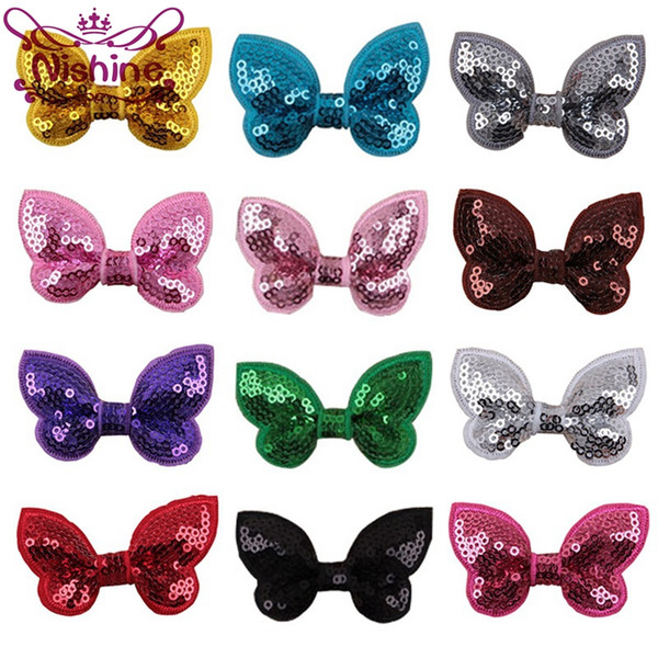 """Nishine 2.2"""" Embroideried Sequin Bows For Kids Headband Hair Clip DIY Shine Hair Bow Hair Accessories(Color:12 Colors)"""