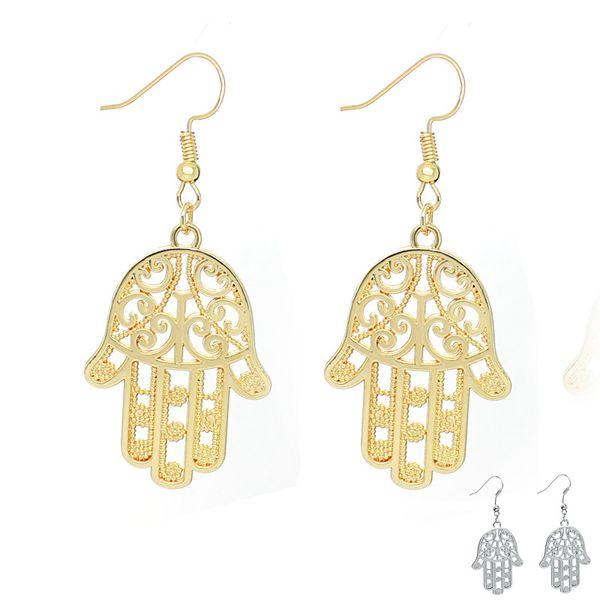 Fashion Jewelry 2016 New Arrivals Charm Drop Earrings For Women Hamsa Hand Fatima Palm Earring 24pairs/lot