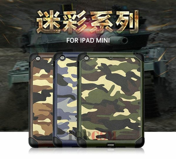 20PCS Newest Camouflage Armor Shockproof TPU Case Cover for iPad Mini 1 2 3 4 with Retail Package