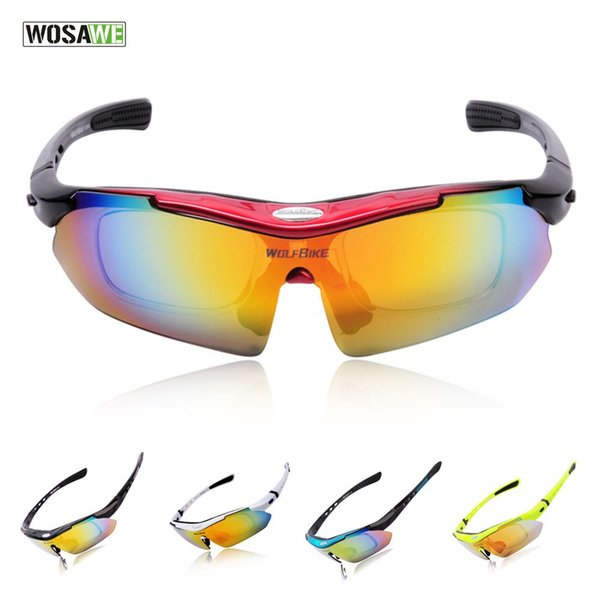 c8820d4beb4 WOSAWE Motorcycle automobile Cycling Bicycle Bike Sports Sun Glasses  Eyewear Goggle Sunglasses 5 Lens Replaceable Polarized