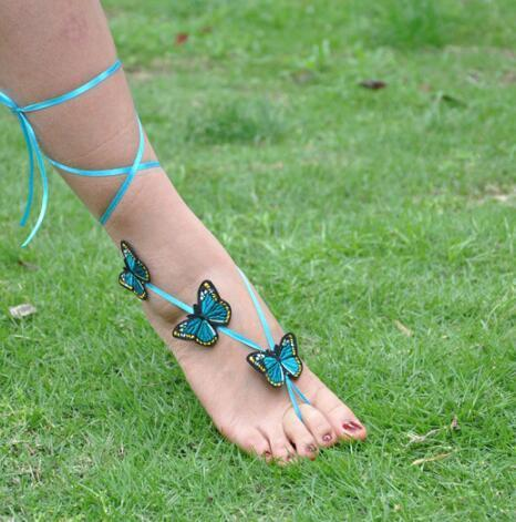 Bridal Beach Pool Wear Butterflies Barefoot Sandals Stretch Anklet Chain With Toe Retaile Sandbeach Wedding Bridal Bridesmaid Foot Jewelry