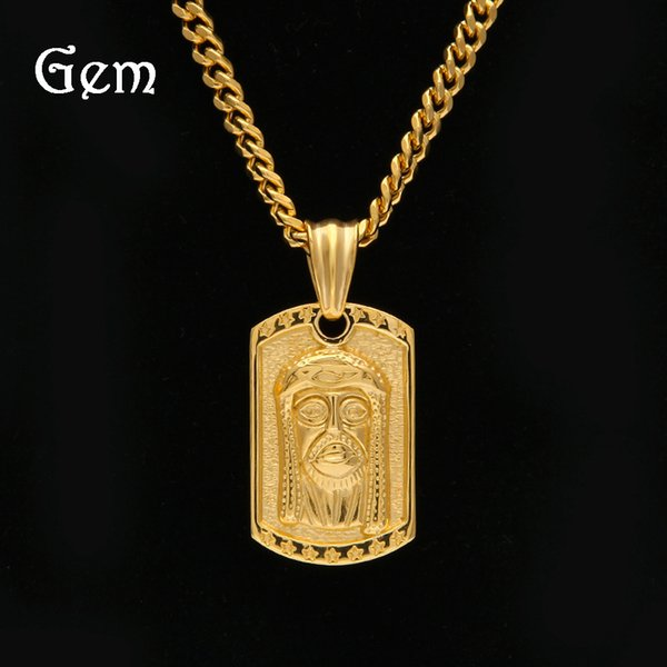 Fashion Jesus Tag Pendant Neacklaces For Mens Hiphop Dangle Chains Gold Plated Hip Hop Jewelry Luxury Party Accessories Hot Sale