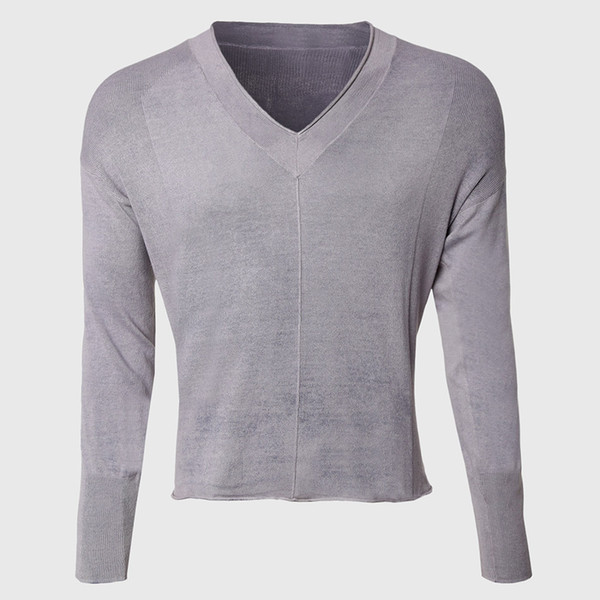 12e0a94fe70 Wholesale-Men Deep V Neck Sweaters Vintage Knitted Pullover Male Sexy Cable Knit  Sweater Long Sleeve Raw Edge Cut Designer Wear