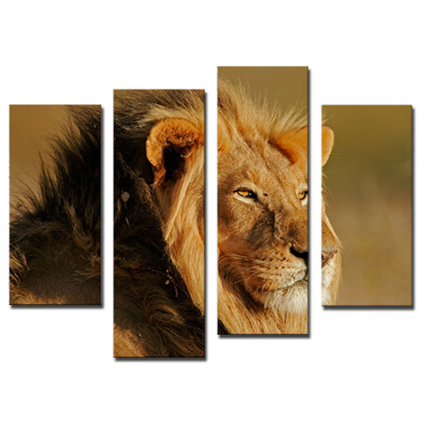 Amosi Art-4 Pieces Big Male Lion Sit At Dry Grassland Wall Art Painting On Canvas Animal Pictures For Home Decor Gift with Wooden Framed