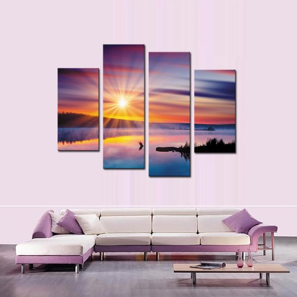 4 Piece Wall Art Painting Lake And Cloud in The Sunshine Landscape Pictures Prints On Canvas For Home Modern Decor Or As Gift