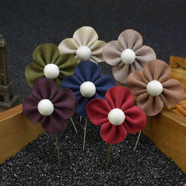 New fashion men brooch flower lapel pin 4cm suit boutonniere fabric yarn pin 20 color button Clover flower broochers for wedding Jewelry